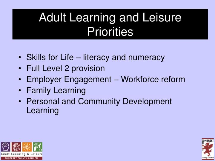 Adult Learning and Leisure Priorities