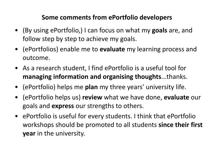 Some comments from ePortfolio developers