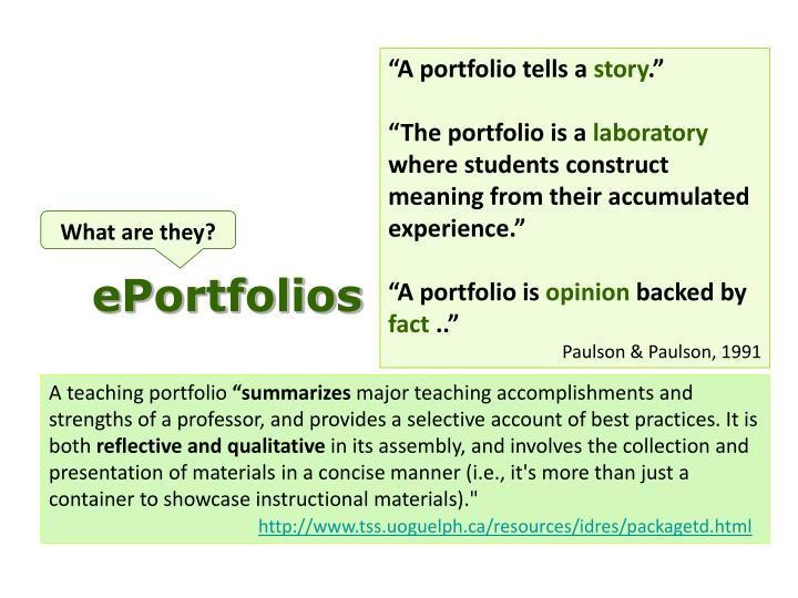 """A portfolio tells a"