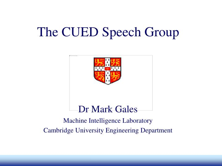 Dr Mark Gales