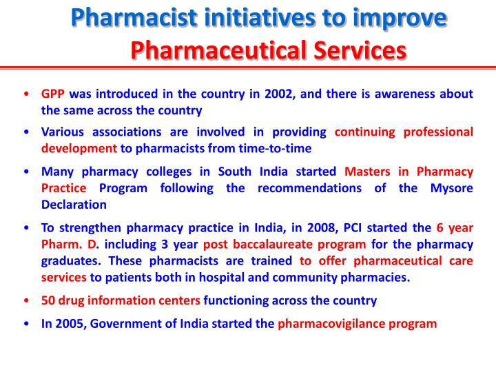 Pharmacist initiatives to improve