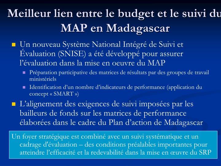 Meilleur lien entre le budget et le suivi du MAP en Madagascar