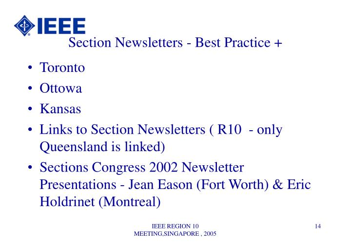 Section Newsletters - Best Practice +
