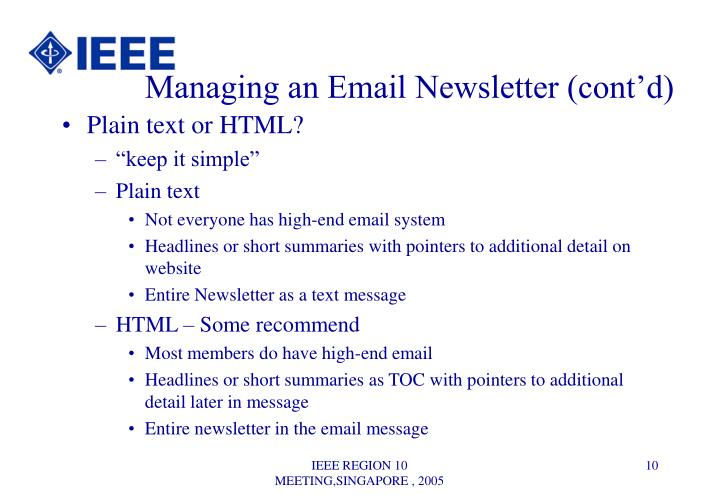 Managing an Email Newsletter (cont'd)