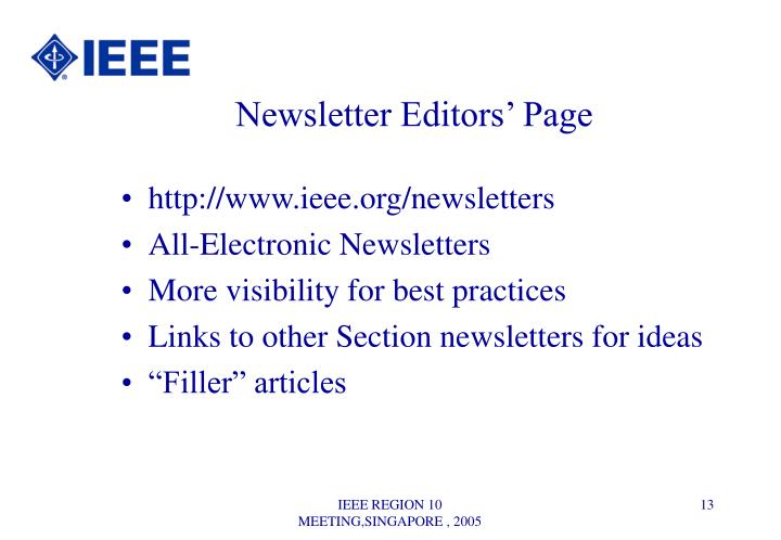 Newsletter Editors' Page