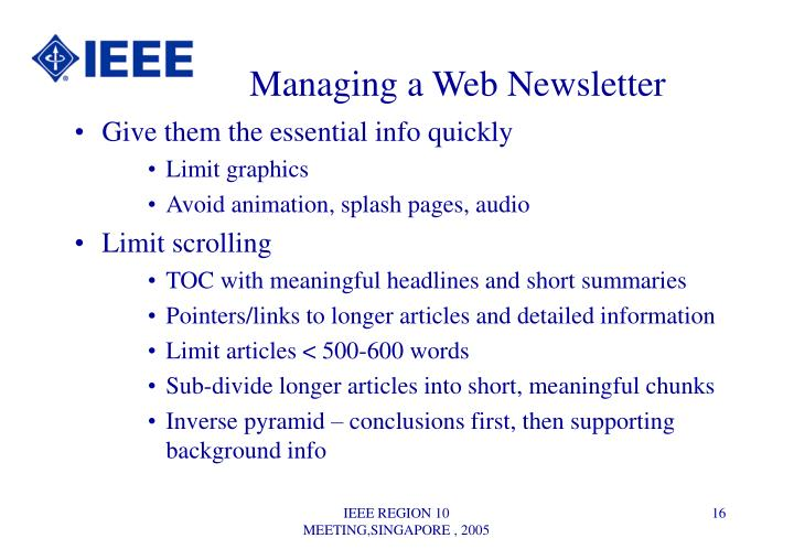 Managing a Web Newsletter