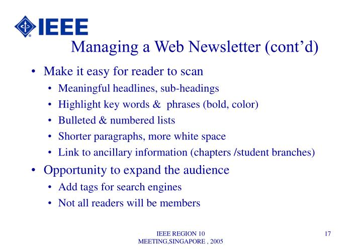 Managing a Web Newsletter (cont'd)