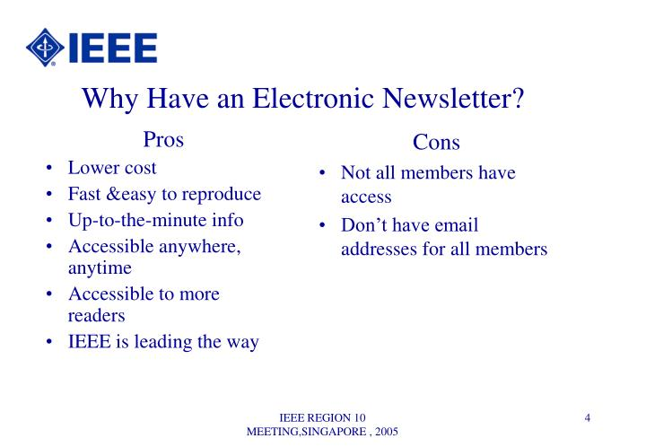 Why Have an Electronic Newsletter?