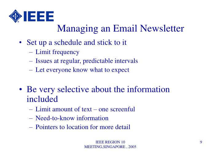 Managing an Email Newsletter