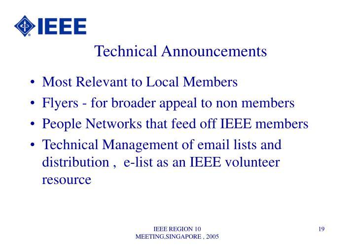 Technical Announcements