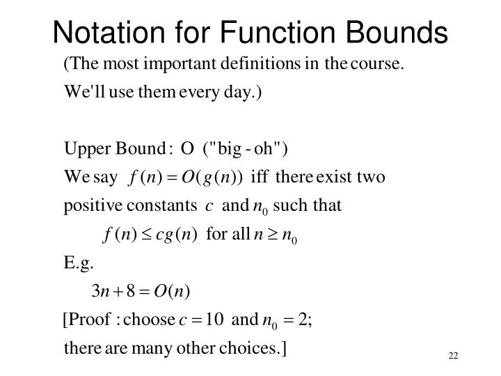 Notation for Function Bounds