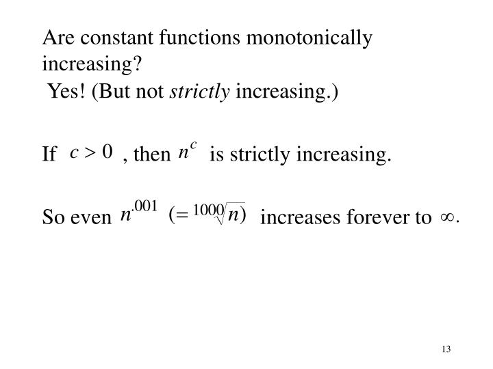 Are constant functions monotonically increasing?
