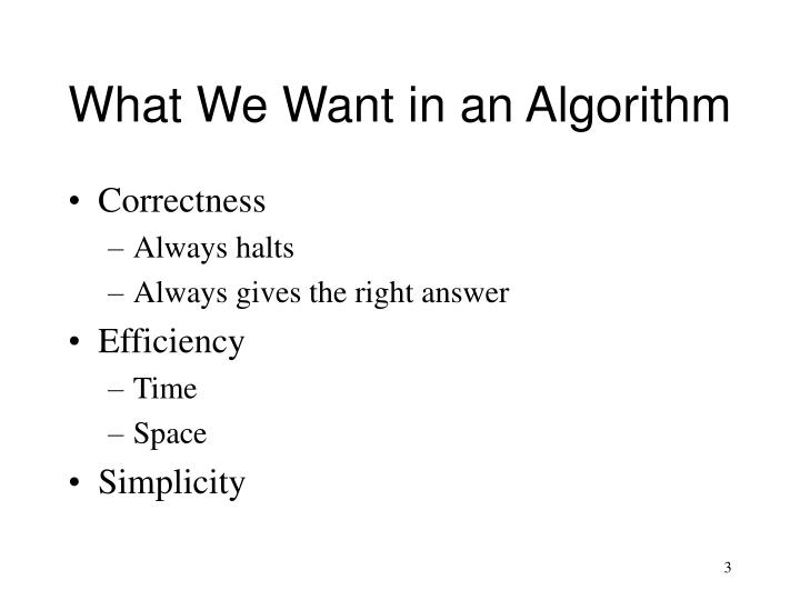 What We Want in an Algorithm