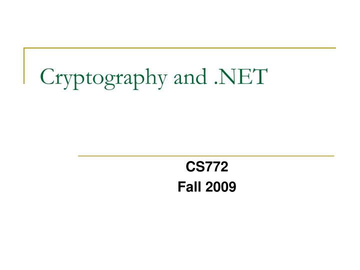 Cryptography and .NET