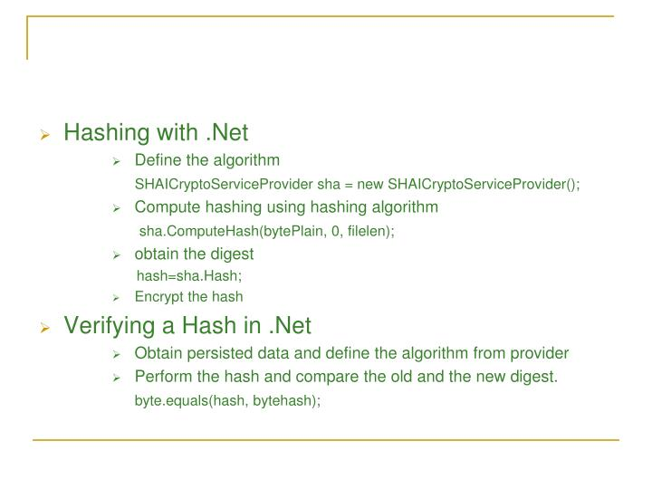 Hashing with .Net