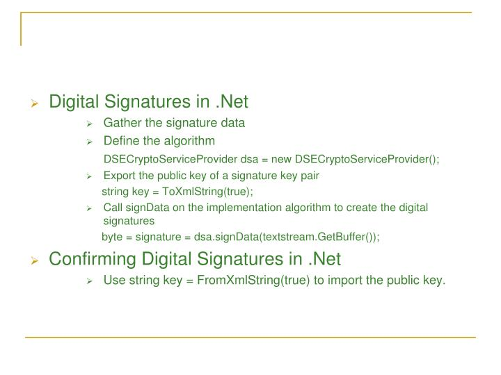 Digital Signatures in .Net