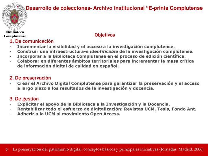 """Desarrollo de colecciones- Archivo Institucional """"E-prints Complutense"""
