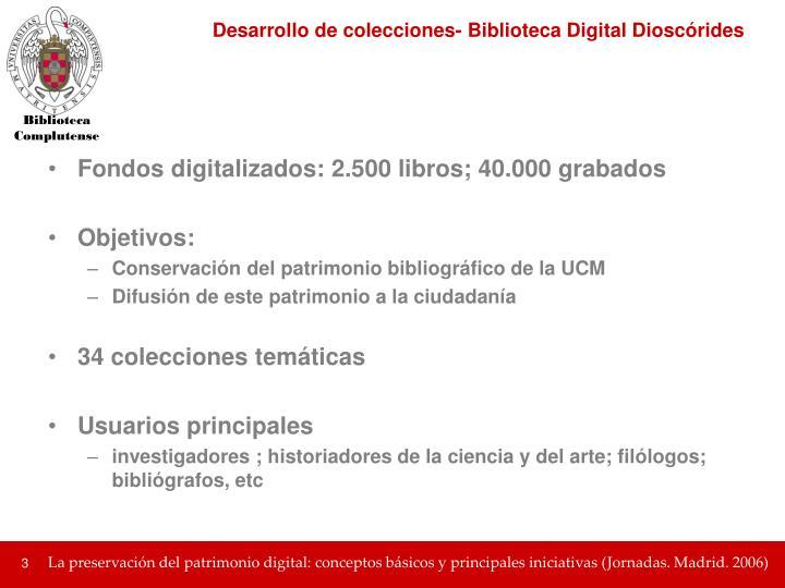 Desarrollo de colecciones- Biblioteca Digital Dioscórides