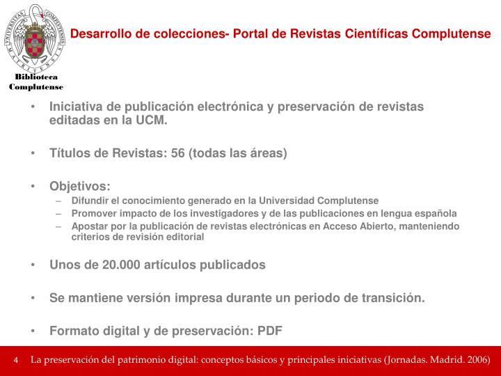Desarrollo de colecciones- Portal de Revistas Científicas Complutense
