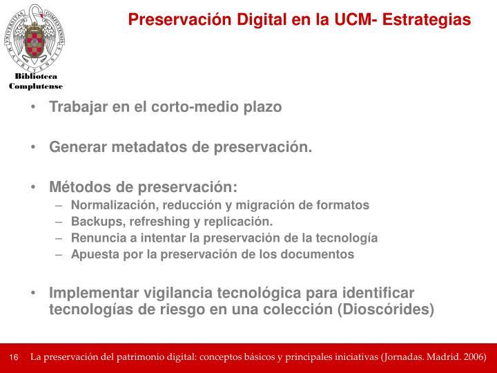 Preservación Digital en la UCM- Estrategias