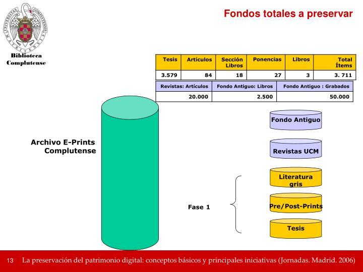 Fondos totales a preservar
