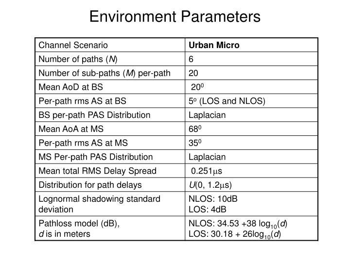 Environment Parameters