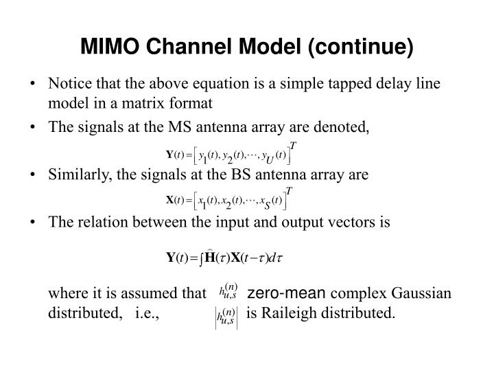 MIMO Channel Model (continue)