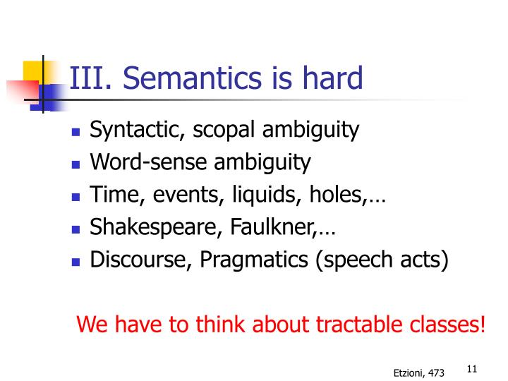 III. Semantics is hard