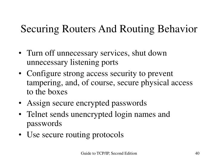 Securing Routers And Routing Behavior