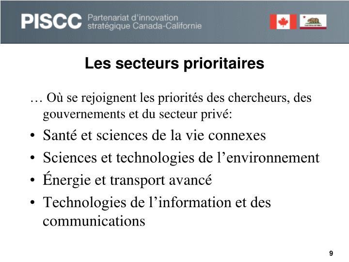 Les secteurs prioritaires