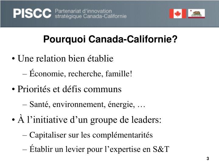 Pourquoi Canada-Californie?