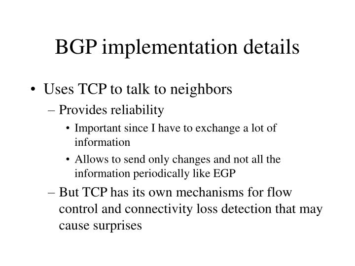 BGP implementation details