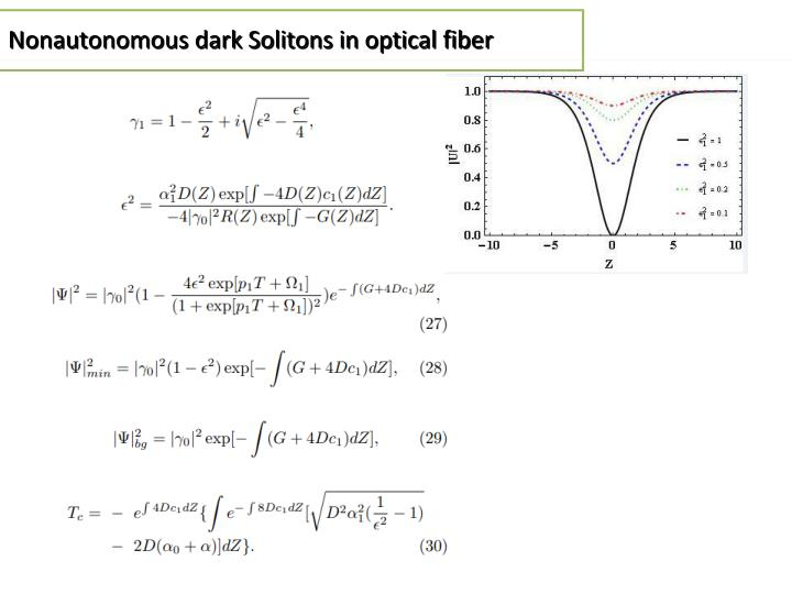 Nonautonomous dark Solitons in optical fiber