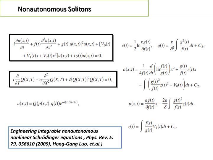 Nonautonomous Solitons