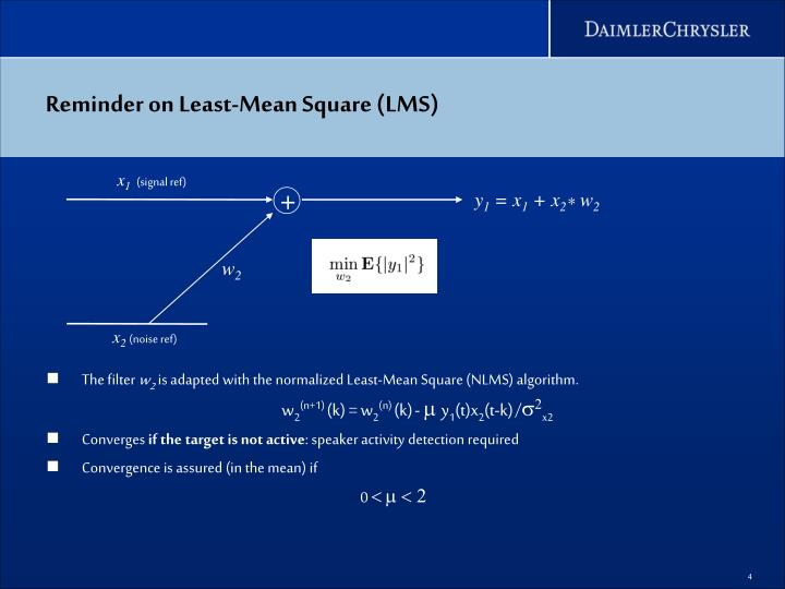 Reminder on Least-Mean Square (LMS)