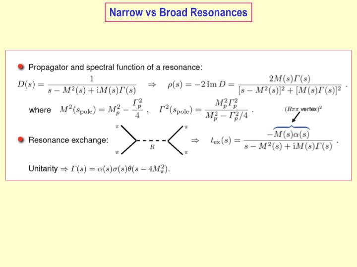 Narrow vs Broad Resonances