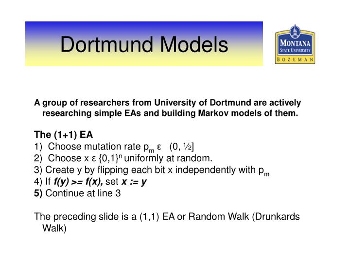 A group of researchers from University of Dortmund are actively researching simple EAs and building Markov models of them.