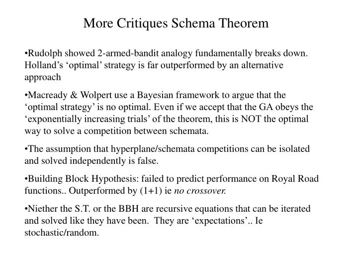 More Critiques Schema Theorem