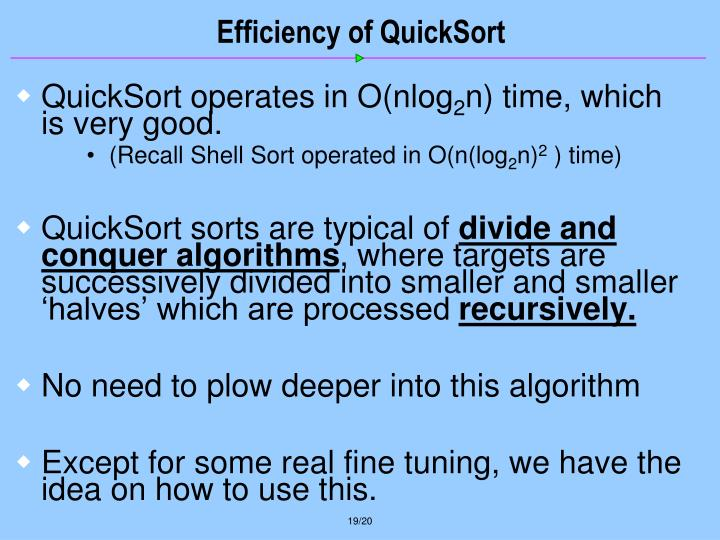 Efficiency of QuickSort
