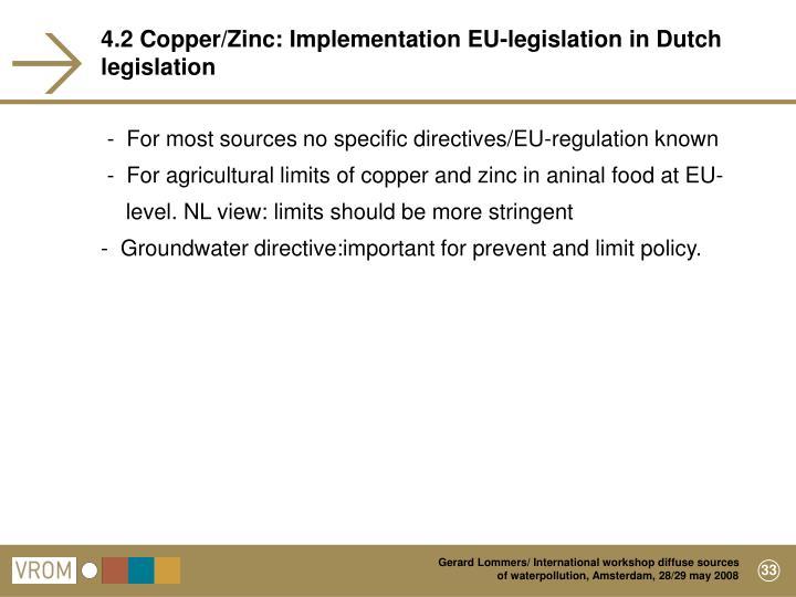 4.2 Copper/Zinc: Implementation EU-legislation in Dutch legislation