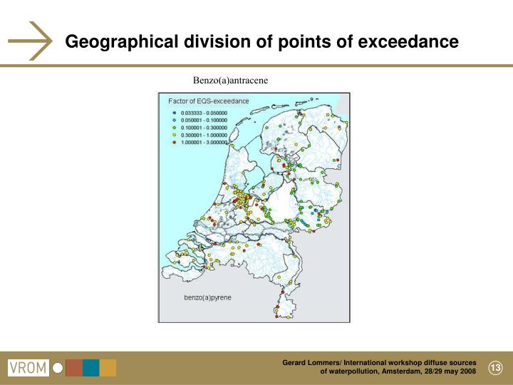 Geographical division of points of exceedance