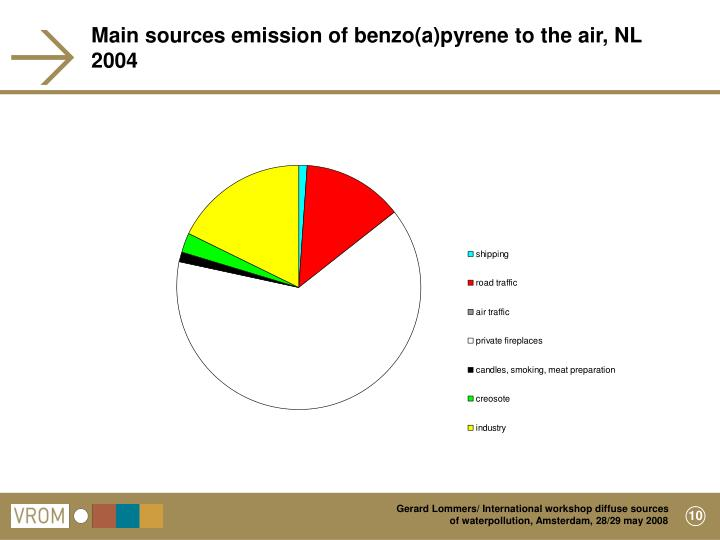 Main sources emission of benzo(a)pyrene to the air, NL 2004