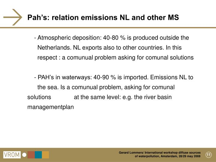 Pah's: relation emissions NL and other MS