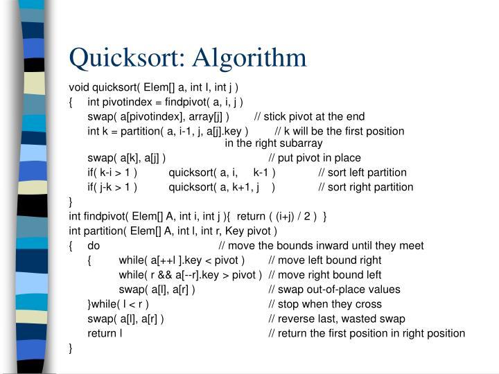 Quicksort: Algorithm