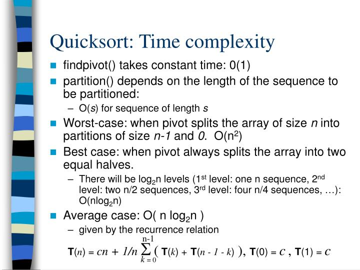 Quicksort: Time complexity