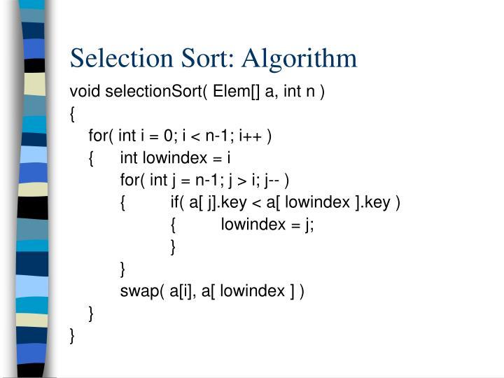 Selection Sort: Algorithm
