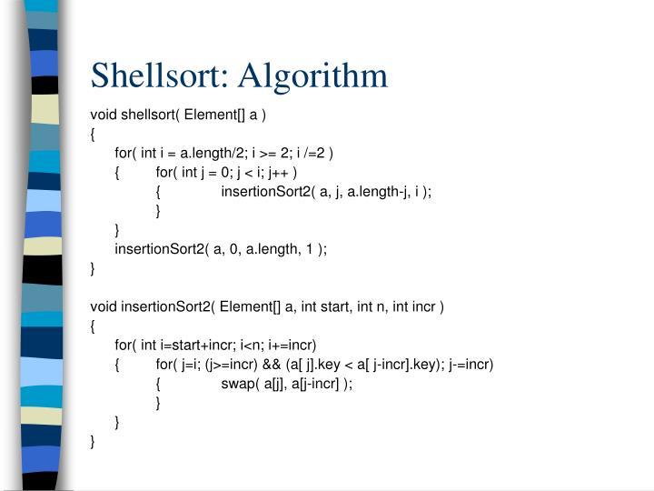 Shellsort: Algorithm