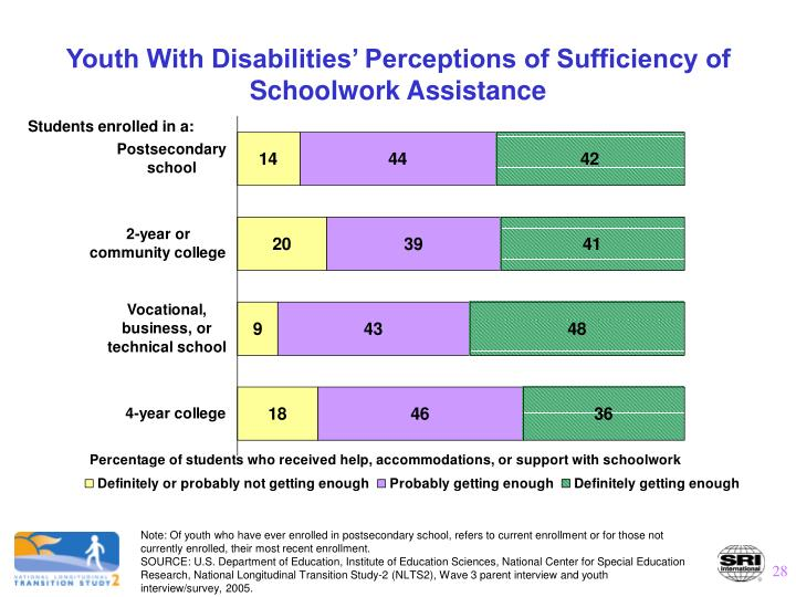 Youth With Disabilities' Perceptions of Sufficiency of Schoolwork Assistance
