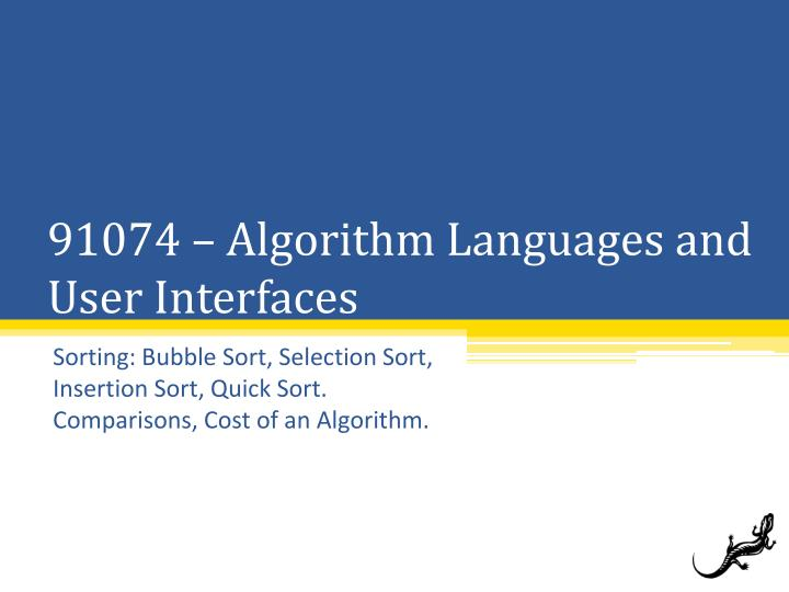 91074 algorithm languages and user interfaces