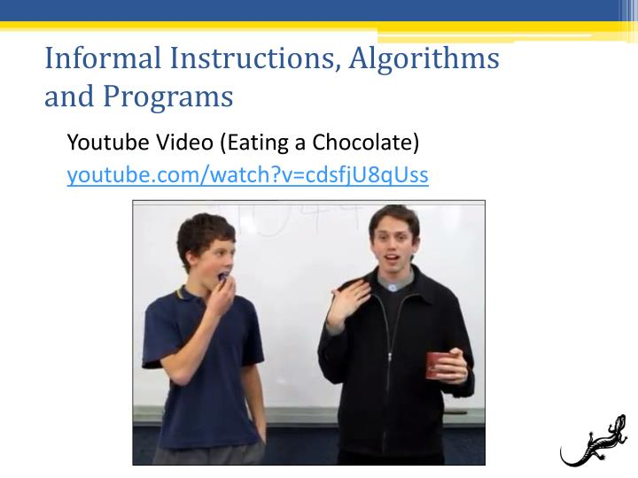 Informal Instructions, Algorithms and Programs